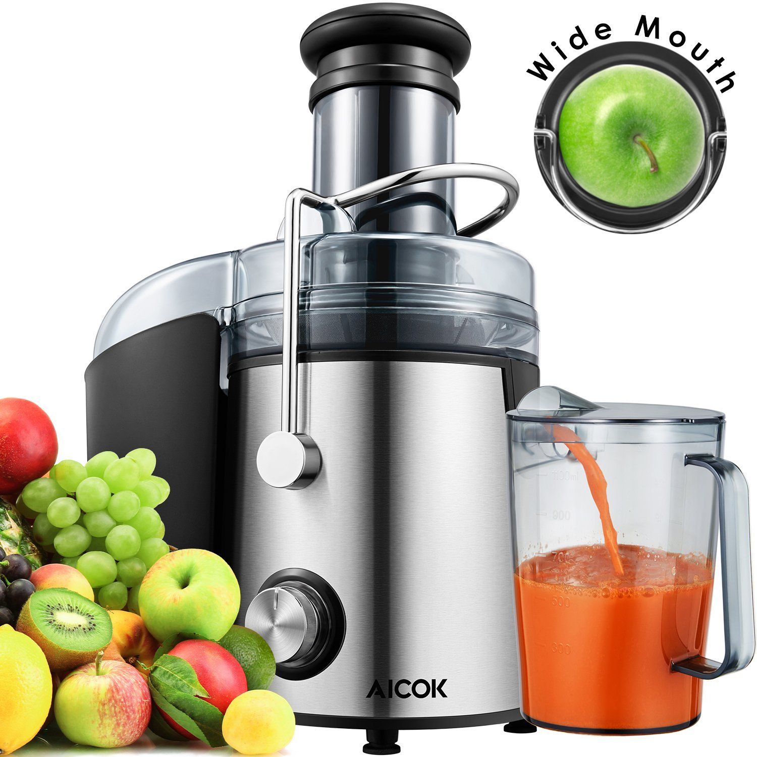 Aicok Wide Mouth 76MM Juice Extractor Centrifugal Juicer Machine